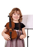Beautiful little girl with violin Royalty Free Stock Photos