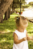 Beautiful little girl walks in the park. she holds a flower and looks at him. Royalty Free Stock Photos