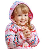 Beautiful little girl wearing a jacket on a white background Royalty Free Stock Photos