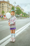 Beautiful little girl with white balloon Royalty Free Stock Photography