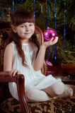 Beautiful little girl in white dress Royalty Free Stock Images
