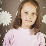Beautiful Little Girl With Long Brown Hair Stock Image