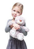Beautiful Little Girl With Teddy Bear Isolated Stock Image