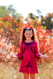 Beautiful little girl with a wonderful smile and happy on a summ Royalty Free Stock Photography