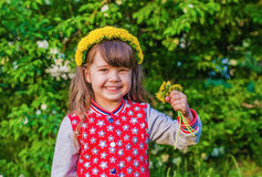 Beautiful little girl in a wreath from dandelions Royalty Free Stock Photography