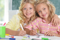 Beautiful little girls at class Royalty Free Stock Image