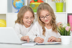 Beautiful little girls at class Royalty Free Stock Images