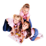 Beautiful little girls painting with their hands Stock Photography