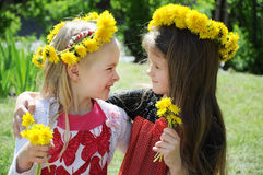 Beautiful little girls in park Royalty Free Stock Image