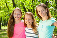 Beautiful little girls in park Royalty Free Stock Images