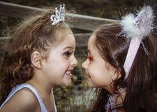 Beautiful little girls wearing a fairy costumes Stock Photos