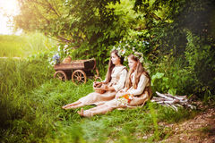 Beautiful little girls in a white dress posing in the grass. Sunset light. Stock Image