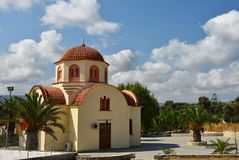 Beautiful little Greek chapel at sunset on the island of Crete - Greece. Royalty Free Stock Image