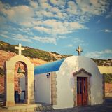 Beautiful little Greek chapel at sunset on the island of Crete - Greece. Beautiful little Greek chapel at sunset on the island of Crete - Greece Stock Photo