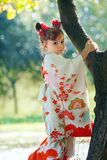 Beautiful little japanese kimono girl Stock Photos