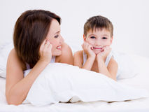 Beautiful little kid with happy young mother Stock Photography