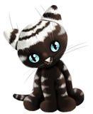Cat little kitten character cartoon style  illustration wh Stock Photography