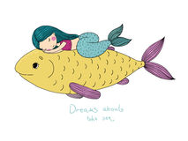 Beautiful little mermaid and big fish. Stock Photo