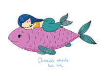 Beautiful little mermaid and big fish. Royalty Free Stock Photos