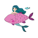 Beautiful little mermaid and big fish. Siren. Sea theme. Royalty Free Stock Photos
