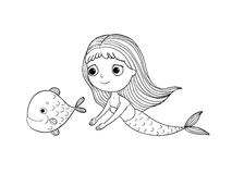 Beautiful little mermaid and fish. Siren. Stock Photos