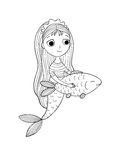 Beautiful little mermaid and fish. Siren. Stock Image