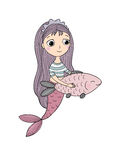 Beautiful little mermaid and fish. Siren. Royalty Free Stock Photography