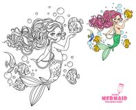 Beautiful little mermaid girl coloring page Stock Images