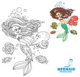 Beautiful little mermaid girl dancing with an octopus Stock Photo