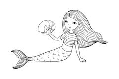 Beautiful little mermaid and shell. Siren. vector illustration
