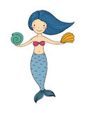 Beautiful little mermaid with shells. Hand drawn vector illustration on a white background Stock Image