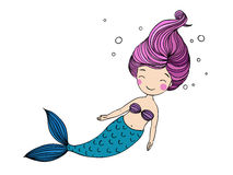 Beautiful little mermaid. Siren. Sea theme. Hand drawn vector illustration Stock Image