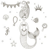 Beautiful little mermaid. Siren. Sea theme. Hand drawn vector illustration on a white background Royalty Free Stock Photography