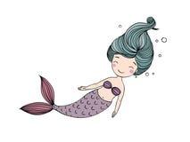 Beautiful little mermaid. Siren. Sea theme. Stock Photo