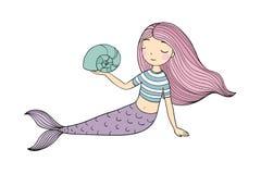 Beautiful little mermaid. Siren. Sea theme. Stock Image