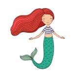 Beautiful little mermaid. Siren. Sea theme. Stock Images