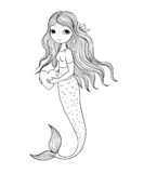 Beautiful little mermaid. Siren. Sea theme. stock illustration