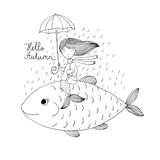 Beautiful little mermaid under an umbrella floating in the big fish. Stock Images