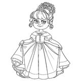 Beautiful little princess curtsies outlined Royalty Free Stock Photo