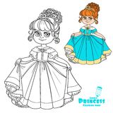 Beautiful little princess curtsies outlined for coloring book Stock Image
