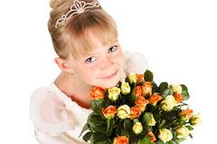 Beautiful little princess with flowers Royalty Free Stock Images