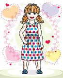 Beautiful little red-haired girl posing on colorful backdrop wit. H romantic hearts. Vector kid illustration Royalty Free Stock Photos