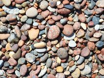 Colorful stones on Baltic sea coast, Lithuania Royalty Free Stock Photos