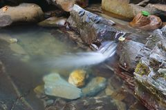 Beautiful little stream of mountain creek flows between the rocks Royalty Free Stock Photos