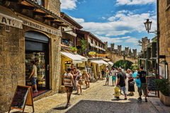 Beautiful little streets of San - Marino waiting for tourists. Royalty Free Stock Images