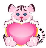 Beautiful little tiger with heart. Sign 2010 years is a beautiful little tiger with heart on background Stock Photography