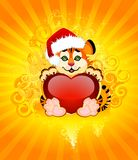 Beautiful little tiger with heart. Sign 2010 years is a beautiful little tiger with heart on background Stock Illustration
