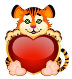Beautiful little tiger with heart. Sign 2010 years is a beautiful little tiger with heart on background Stock Image