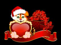 Beautiful little tiger with heart. Sign 2010 years is a beautiful little tiger with heart on background Royalty Free Stock Photo