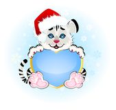 Beautiful little tiger with heart. Sign 2010 years is a beautiful little tiger with heart on background Stock Images